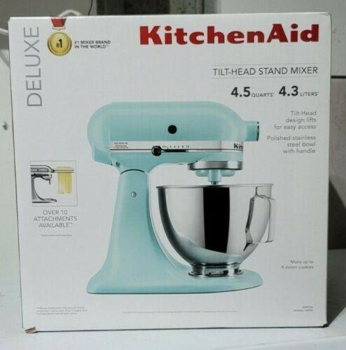 NEW-KitchenAid Deluxe 4.5 Quart Tilt-Head Stand Mixer Mineral Water Blue KSM97MI
