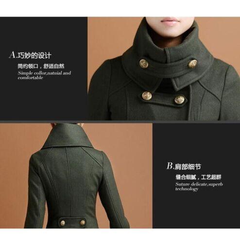 Winter Women Warm Wool Outwear Jacket Military Trench Coat Overcoats Windbreaker
