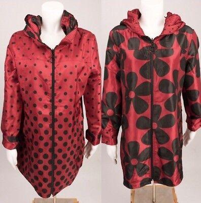 UBU London Towne Women's Jacket Rain Coat Reversible M Daisy Polka Dot Red Black