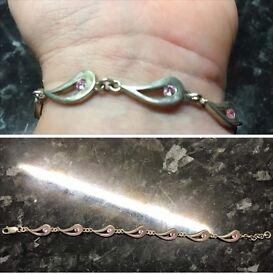 Sterling silver pink cz stone bracelet