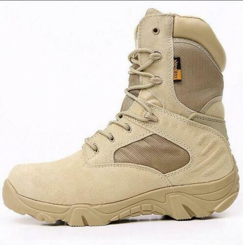 d77f1d6f914 Details about Mens Army Tactical Military Leather High Boots Outdoor Combat  Work desert Shoes