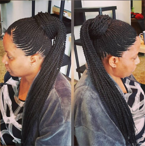 Nattes avec ou sans extensions, Box braids (rasta), Twists, etc