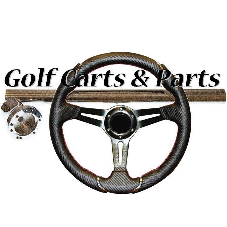 "EZGO TXT Golf Cart Steering Wheel 14"" Carbon Fiber SS Column Cover and Adapter"