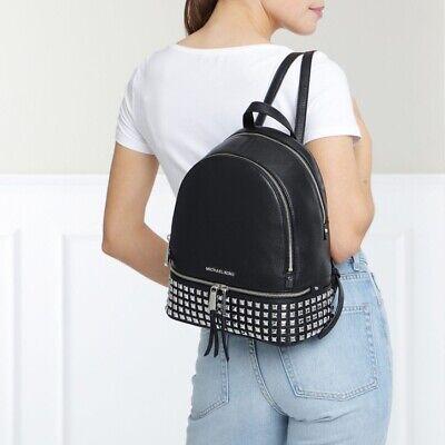 🌴Michael Kors - 100% RHEA Black/Silver Studded - Backpack Brand New & Tags☀️