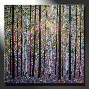 Original Oil Painting Canvas Birch Trees Summer Forest Ligh