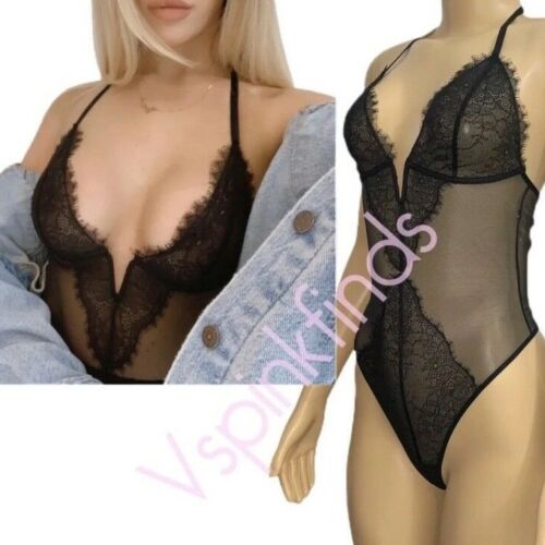 """Victorias Secret Very Sexy """"V"""" Wire Sheer Chantilly Lace Lingerie Teddy Bra Blk"""