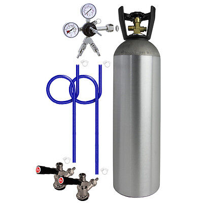 Kegco 2 Keg Direct Draw Kit For Kegerators And Jockey Boxes With 15 Lb. Co2 Tank