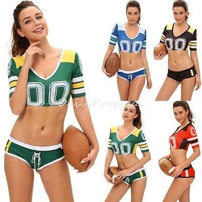 Sexy Adult Women Fantacy Football Player Jersey Shirt Shorts Hallowe Costume USA - Football Costum