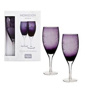 DENBY Monsoon 2 Piece 'Cosmic' Luxurious Glass Set - RED Wine - Deep Purple