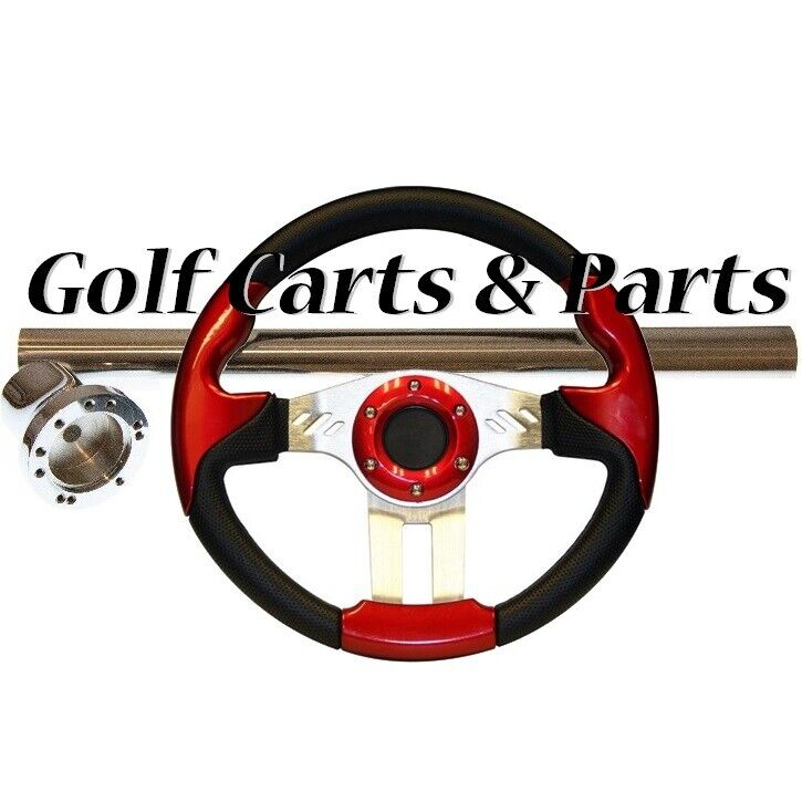 EZGO TXT Golf Cart Steering Wheel Red Black With Chrome Column Cover and Adapter