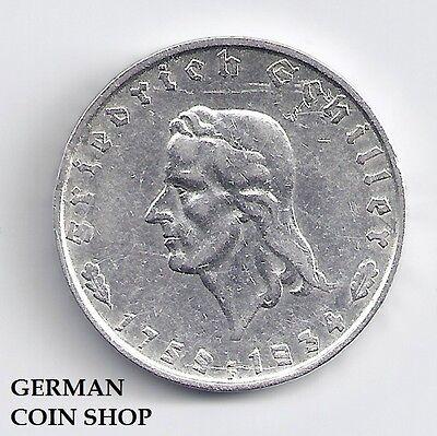 Germany Drittes Reich 2 Reichsmark 1934 F Friedrich von Schiller - SILBER