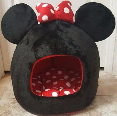 "NWOT Disney Minnie Mouse Dog Cat Pet Bed Dome House 16"" x 16"" x 18"" FREE SHIP"