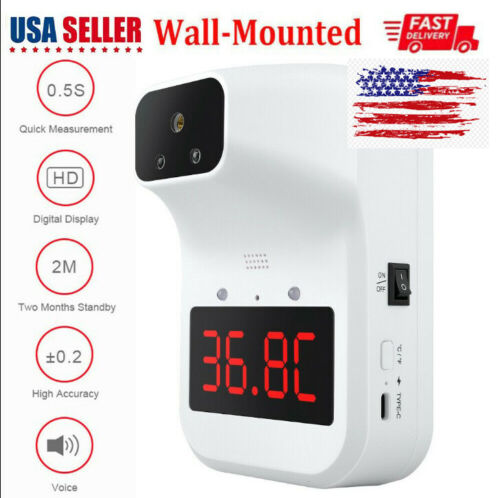 Wall Mount Digital Infrared Thermometer Automatic Non Contact Forehead Adult USA