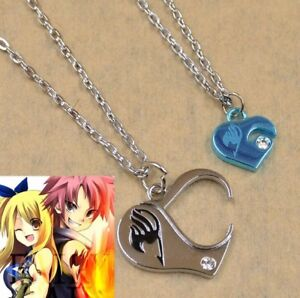 Fairy Tail Anime Heart 2 Piece Couple Love Pendant Necklace 50cm US Seller