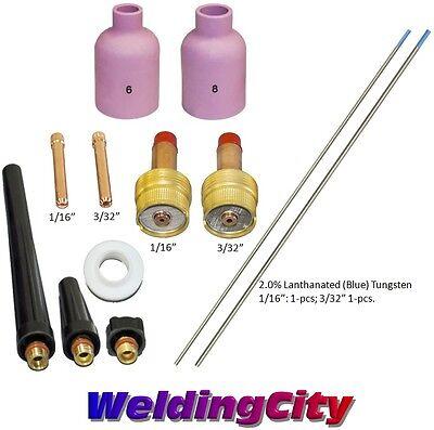 Tig Welding Torch 1726 Kit Lg Gas Lens-tungsten Blue 116-332 T59b Us Seller