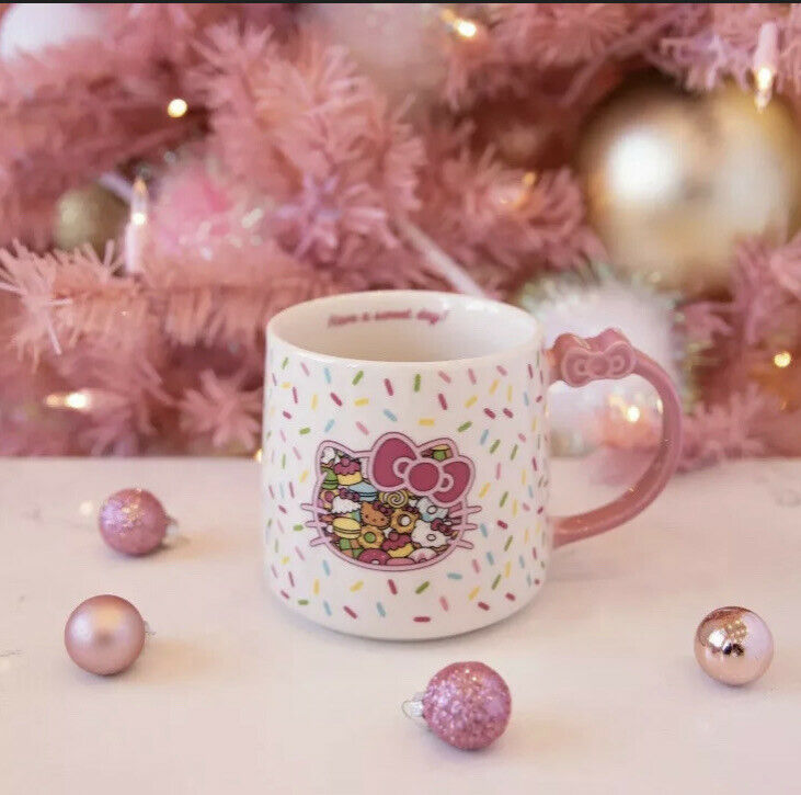 NEW Hello Kitty Cafe Exclusive Sprinkles Bow Coffee Mug Sanrio