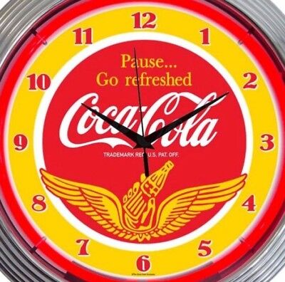 Coke Wings Neon Wall Clock Coca Cola Office Game Room Garage 15 Inch Red Yellow