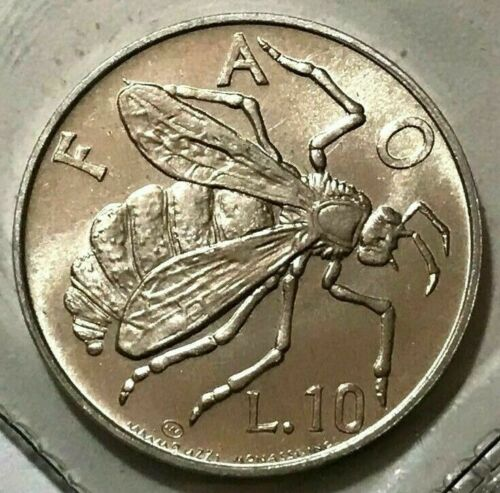 1974 San Marino 10 lire, Bee, insect, animal wildlife coin