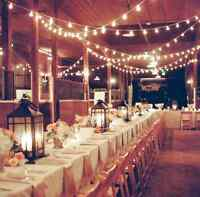 Romantic vintage bistro string lights for rent!