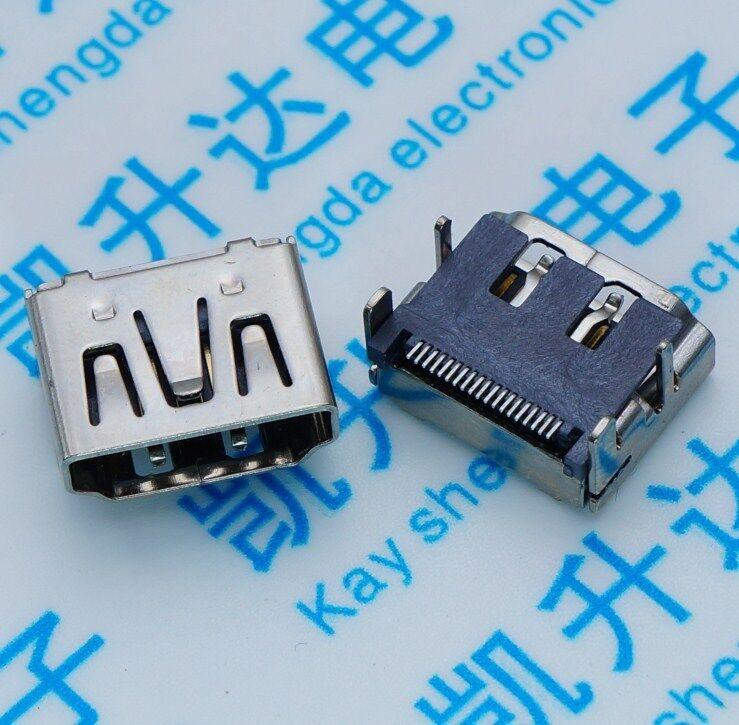 5Pcs HDMI Female SMD SMT 19Pins Socket Soldering Connectors 4Legs NEW
