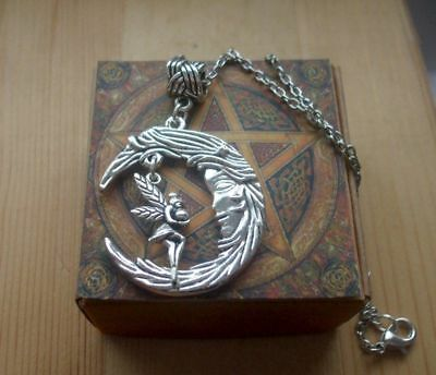 Fairy on the Moon Pendant Necklace + gift Box - Celtic, Wicca, Magic, Epic  - The Moon Fairy