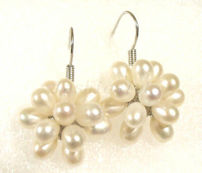 Women FW White Real Pearl 18KGP Grape Wedding Xmas Cluster Hook Drop Earrings (Fw Pearl Cluster Earrings)
