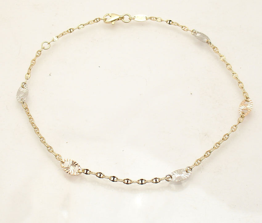Diamond Cut Mariner Gucci Link Ankle Bracelet Anklet Real...