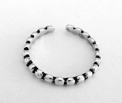 Sterling Silver beaded narrow band adjustable toe ring