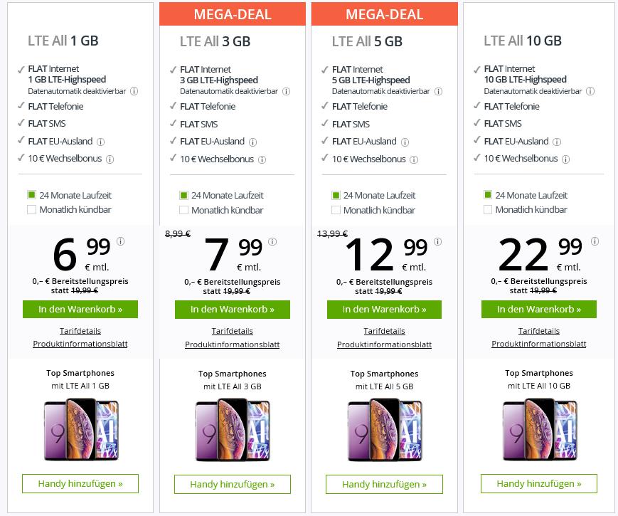 Günstig telefonieren und surfen Handytarif 6,99€ monatlich kündbar