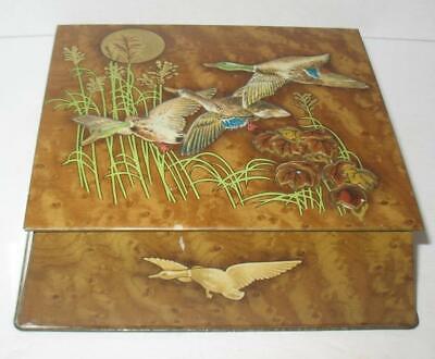 Vintage Tin Litho Box Square Hinged Lid Flying Ducks Cabin Decor Hunting Lodge](Duck Decor)