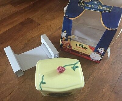 Rare Disney collector Beauty and the Beast Clover butter dish complete with box