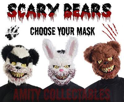 SCARY BEAR MASK Ted Killer Bear Furry Bunny Halloween Fancy Dress Costume - Scary Bear Costume