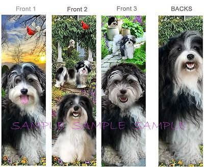 3-HAVANESE BOOKMARK Black & White DOG Lhasa Apso Book Card ART Shih Tzu BICHON