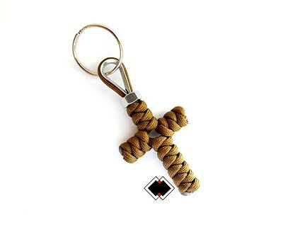 Cross keychain - 550 Paracord - Coyote Brown - Handmade in USA - Paracord Cross