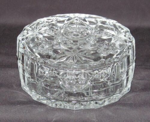 """Anchor Hocking EAPC """"Star of David"""" Rd Pomade Box with Lid  (Early Am Prescut)"""