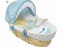 babystart blue moses basket new in wrapper