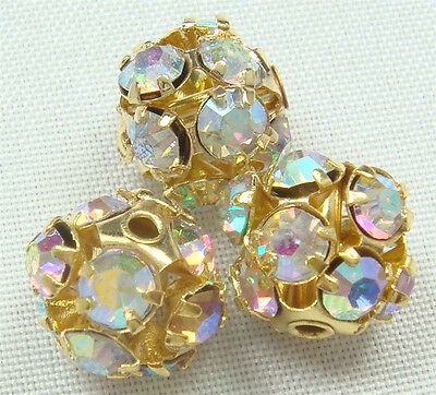 5pcs gold Spacer Rhinestone Spacer Bead Decorative Accessories 8mm j8z