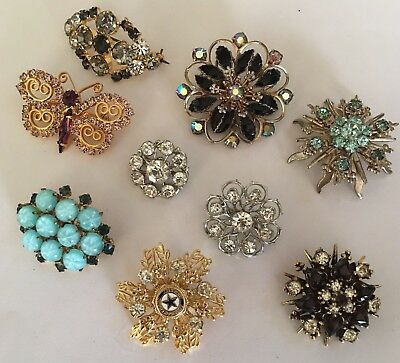 Lot Of 9 Costume Jewelry Brooches Pins Variety Prong Set Rhinestone