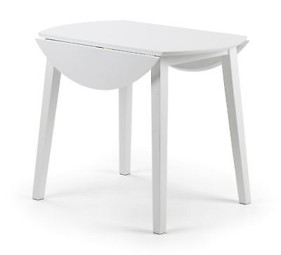 Julian Bowen Coast White Wood Kitchen Round Dining Drop Leaf Table Only