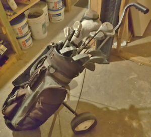 Golf clubs with bag / wheel cart