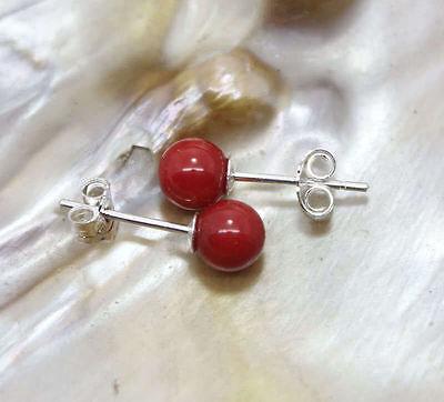 Fashion 8mm Coral Red South Sea Shell Pearl Stud Earrings Drop South Sea Earrings