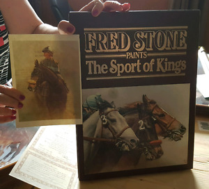 FRED STONE Horse painting, collectors plates and book of paints