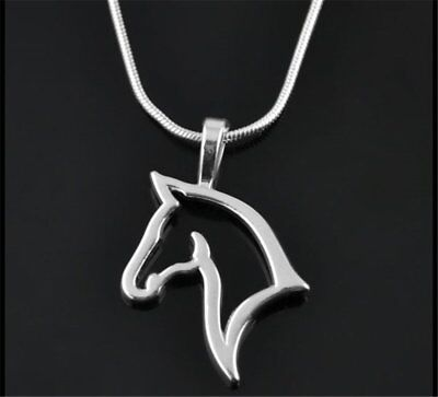 Chic Silver Plated Animal Horse Pets Pendant Necklace Charm Chain Gift Jewelry (Horse Charm Necklace)