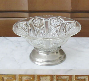Vintage Decorative Cut Glass Bowl with Metal Bottom