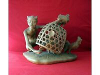 """Hand carved from ONE piece of WOOD"""" Man feeding Chickens"""" Rare and Collectable"""