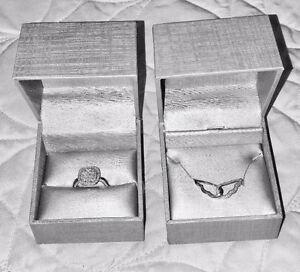 10K White Gold Necklace & 10K White Gold  Ring