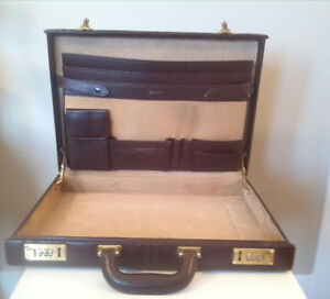 Italian Made Leather Briefcase, Burgundy Outer and beige lining