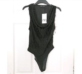 Zara womens fringed bodysuit. Size Medium. New with tags