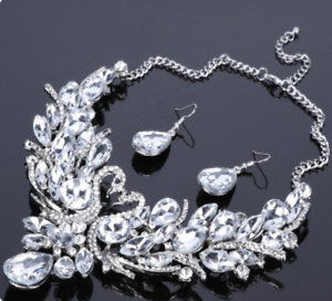 Clear Silver colour Swan Necklace & Earring