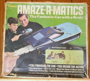 "1970 Amaze-a-matics Buick and Chrysler toy cars ""with a brain"""